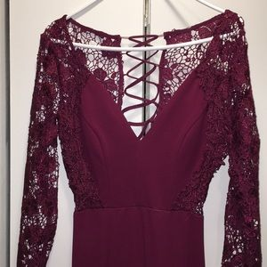 Falling in Love Plum Purple Lace-Up Backless Maxi